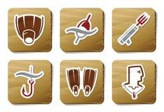 serie för symboler för pappdykningfiske royaltyfri illustrationer