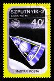 Serie f?r sputnik 2, airpost-, rymdskepp- och Apollo Soyuz Emblem, circa 1975 arkivfoto