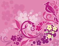 Serie floral del fondo del pájaro Imagen de archivo libre de regalías