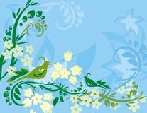 Serie floreale della priorità bassa dell'uccello Immagine Stock Libera da Diritti