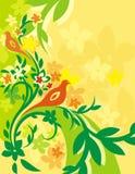 Serie floreale della priorità bassa dell'uccello Fotografia Stock