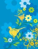 Serie floreale della priorità bassa dell'uccello Immagine Stock