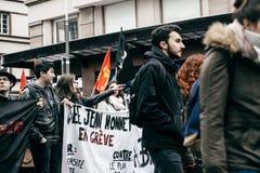 Serie francese di governo di Macron di protesta di riforme Fotografie Stock