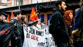 Serie francese di governo di Macron di protesta di riforme Fotografia Stock