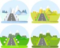 Serie fyra säsonger Berglandskap med vägen i vinter Arkivfoto