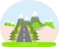 Serie fyra säsonger Berglandskap, väg i vårtid, granträd Modern plan design, designbeståndsdel Royaltyfri Bild