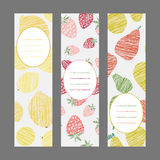 Serie of Harvest berry ornament. Set of Vertical Fruit Banners. Stock Photography