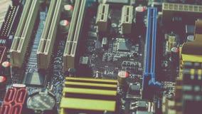 Serie 4K zakończenie up, suwaków strzały powierzchnia komputerowego narzędzia części, układy scaleni, płyta główna, curcuits zbiory wideo