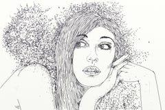 Serie kobiety rysować w kreskówka portretach z piaskiem w ich włosy, Zdjęcie Royalty Free