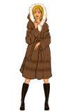 Serie - kvinna i pälslag Royaltyfri Fotografi
