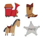 Serie, Matte, Pferd und Abzeichen Lizenzfreies Stockfoto