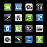 Serie Media- u. Unterhaltungs-//-Gelbox Stockfotos