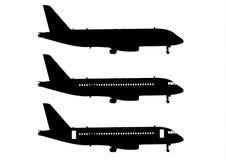 Serie nera dell'aeroplano Fotografie Stock Libere da Diritti