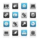 Serie opaca delle icone di // delle unità & del calcolatore Immagine Stock