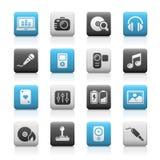 Serie opaca delle icone di // di multimedia Immagine Stock