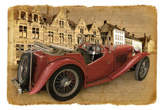 Serie postcards. Red cabriolet on a street. Royalty Free Stock Photos