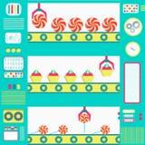 Serie produktion av sötsaker Arkivfoton
