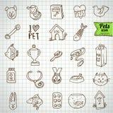 Serie pura   Animali da compagnia ed insieme disegnati a mano dell'icona degli oggetti Immagini Stock Libere da Diritti