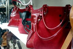 Serie of red suede women's bag [5] Royalty Free Stock Images