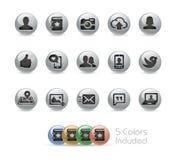 Serie redonda de las comunicaciones de los iconos del metal social de // Foto de archivo