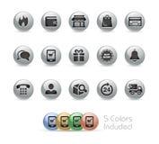 Serie redonda del metal de //de los iconos de la E-tienda Fotos de archivo