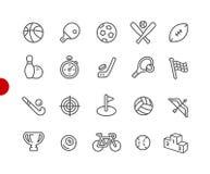 Serie roja del punto de //de los iconos de los deportes ilustración del vector