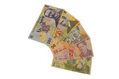 Serie rumana de la moneda del billete de banco de los leus Fotografía de archivo libre de regalías