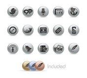 Serie social del botón del metal de // de los media Imágenes de archivo libres de regalías