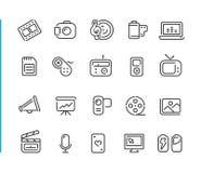 Serie stabilita di //Blue Line dell'icona di multimedia Fotografia Stock