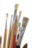 A serie of used brushes Stock Photo