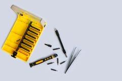 Serie ustawiać dla naciągowych elektronika mały śrubokręt zdjęcia royalty free
