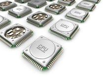 Serie van CPU& x27; s Centrale verwerkingseenheidseenheden Stock Afbeeldingen