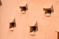 Serie van kleine vensters op een organisch geweven dak Stock Foto