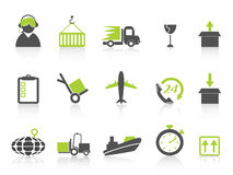 Serie verde simple de la logística y de los iconos del envío