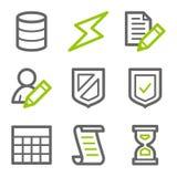 Serie verdi e grige delle icone di Web della base di dati, di profilo Fotografia Stock