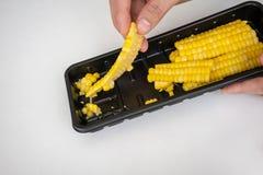 Serie viscosa alta chiusa di cereale guastato in containe di plastica nero immagine stock