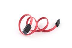 Seriella ATA Cable på vit bakgrund Arkivbilder