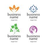 Logo med blom- beståndsdelar Arkivbild