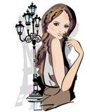 Serien av skissar av härliga modeflickor royaltyfri illustrationer
