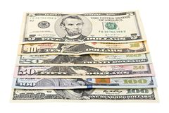 Series American money 5,10, 20, 50, new 100 dollar bill on white background clipping path. Pile US banknote stock photos