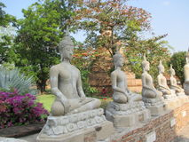 Series of ancient Buddha image statues Royalty Free Stock Image