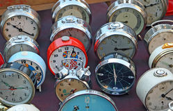 Series of ancient clocks and watches from table Royalty Free Stock Photography