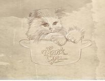 A small cat in a cup Series of animals with vintage background, artistic postcards vector illustration