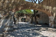 Series of Arch Structures and Walls inside Castle of Sao Jorge in Lisbon Portugal.  Stock Photo