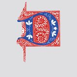 Series of author,sinitials in Gothic style-letter D. Two-color red-blue initials in the Gothic style of the 15 Century.Initial D vector illustration