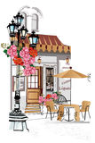 Series of backgrounds decorated with flowers, old town views and street cafes Stock Photo