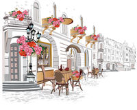 Series of backgrounds decorated with flowers, old town views and street cafes. Hand drawn Vector Illustration stock illustration