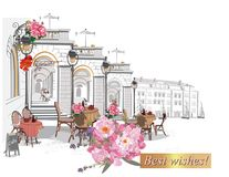 Series of backgrounds decorated with flowers, old town views and street cafes. Stock Image