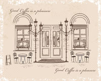 Series of backgrounds decorated with old town views and street cafes. Hand drawn Vector Illustration royalty free illustration