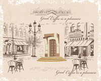 Series of backgrounds decorated with old town views and street cafes. Hand drawn Vector Illustration stock illustration